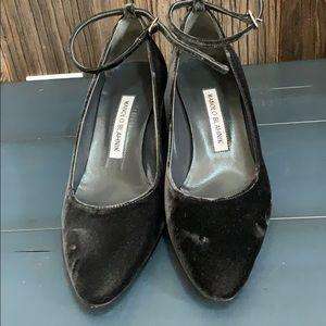Manolo Blahnik Mary Jane wedge heels plush velvet